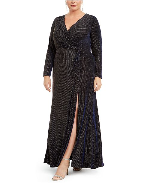 R & M Richards Plus Size Metallic Surplice Gown