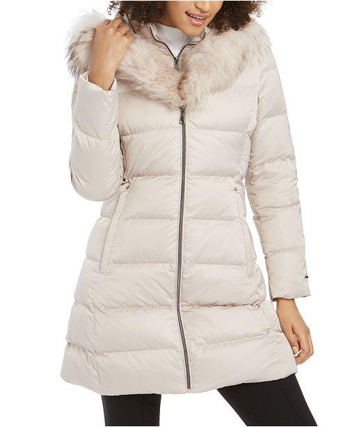 Tahari Hooded Fur-Trim Down Puffer Coat