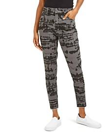 Juniors' Black Tie-Dye Skinny Jeans