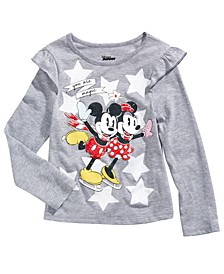 Little Girls Skating Mickey & Minnie T-Shirt