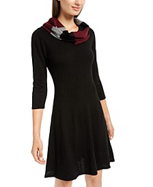 Juniors' Scarf A-line Sweater Dress
