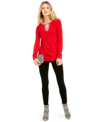 INC Embellished Keyhole Sweater, Created For Macy's