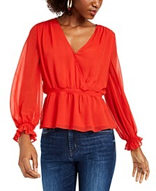 Smocked-Waist Surplice Blouse