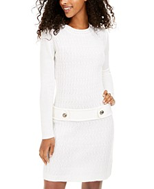 Juniors' Cable-Knit Button-Tab Sweater Dress