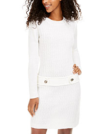 BCX Juniors' Cable-Knit Button-Tab Sweater Dress