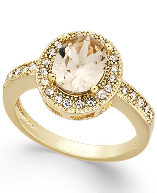 Charter Club Gold-Tone Crystal Oval Halo Ring, Created For Macy's