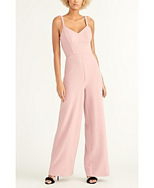 Sleeveless Crepe Back Scuba Jumpsuit