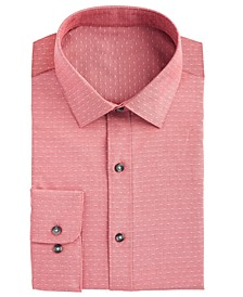 Men's Slim-Fit Stretch Easy-Care Large Dobby Dot Dress Shirt, Created For Macy's