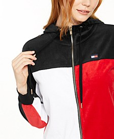 Velour Colorblocked Zip-Up Jacket