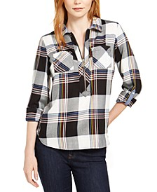 Plaid Zip-Up Popover Shirt, Created For Macy's