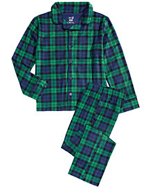 Max & Olivia Little & Big Boys 2-Pc. Plaid Fleece Pajama Set