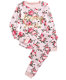Max & Olivia Little & Big Girls 2-Pc. Sleeping Beauty Floral-Print Pajama Set