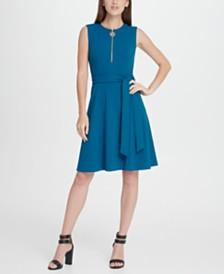 DKNY Logo Zip Belted Fit  Flare Dress