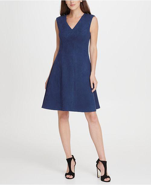 DKNY V-Neck Suede Seamed Fit  Flare Dress