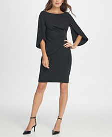 DKNY 3/4 Tulip Sleep Side Ruche Sheath Dress
