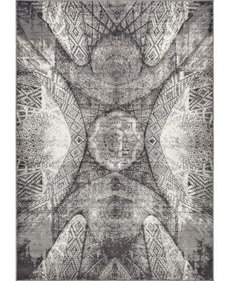 Basha Bas3 Dark Gray 6' x 6' Square Area Rug