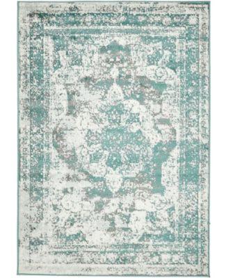 Basha Bas2 Turquoise 5' x 8' Area Rug