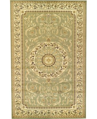 Belvoir Blv2 Light Green 4' x 4' Square Area Rug