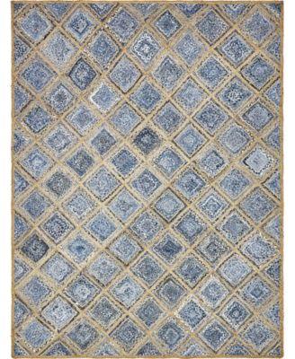 Braided Square Bsq6 Blue 5' x 8' Area Rug