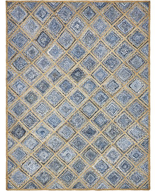 Bridgeport Home Braided Square Bsq6 Blue Area Rug Collection
