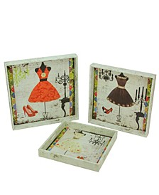 Set of 3 Decorative Vintage-Inspired Fashion and Dresses Square Wooden Serving Trays