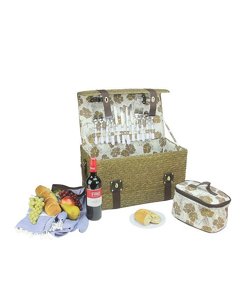 Northlight Raw Umber Hand Woven 4-Person Picnic Basket Set with Accessories