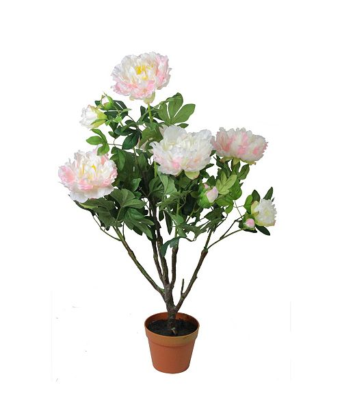 Northlight Potted Artificial Blooming Peony Flower Plant