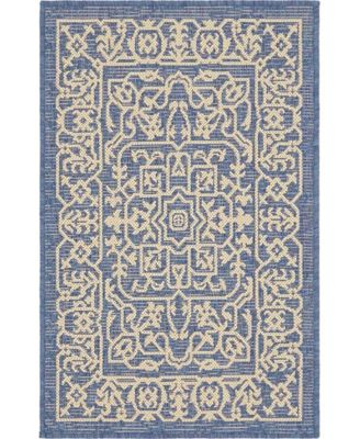 Pashio Pas6 Navy Blue 2' x 6' Runner Area Rug
