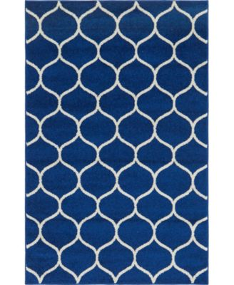 Plexity Plx2 Navy Blue 4' x 4' Round Area Rug