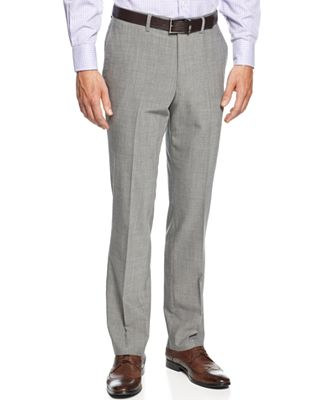 Kenneth Cole New York Slim-Fit Light Grey Sharkskin Dress Pants ...