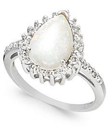 Opal (1-3/4 ct. t.w.) & Diamond (1/4 ct. t.w.) Pear Halo Ring in Sterling Silver