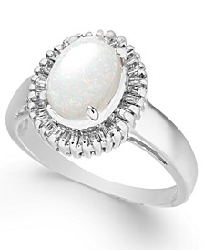 Opal (3/4 ct. t.w.) & Diamond (1/3 ct. t.w.) Ring in 14k White Gold
