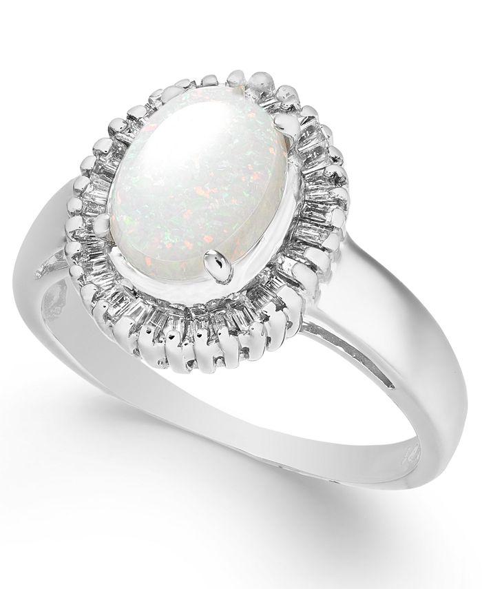 Macy's - Opal (3/4 ct. t.w.) & Diamond (1/3 ct. t.w.) Ring in 14k White Gold