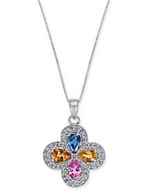 """Multi-Sapphire (2 ct. t.w.) & Diamond (1/3 ct. t.w.) Clover 18"""" Pendant Necklace in 14k White Gold"""