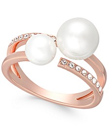 Rose Gold-Tone Pavé & Imitation Pearl Double-Row Ring, Created For Macy's