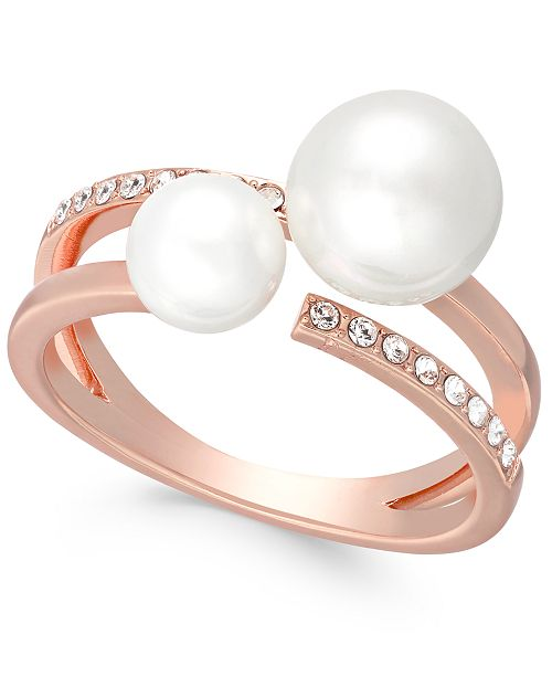 Charter Club Rose Gold-Tone Pavé & Imitation Pearl Double-Row Ring, Created For Macy's