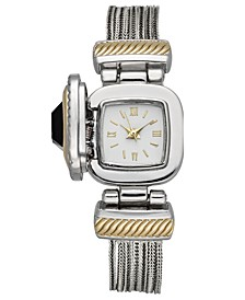 Women's Two-Tone Jet Stone Case Cover Chain Bracelet Watch 25mm, Created For Macy's