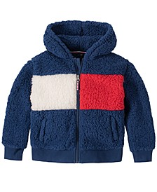 Little Girls Fuzzy Fleece Hooded Jacket