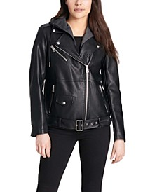 Women's Hooded Faux-Leather Moto Jacket