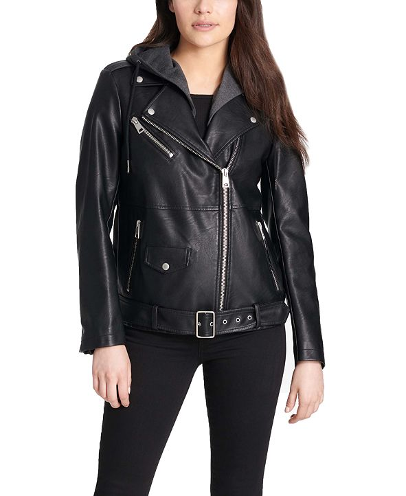 Levi's Women's Hooded Faux-Leather Moto Jacket