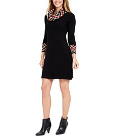 Petite Print-Trim Cowl-Neck Dress