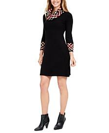 Petite Print-Trim Cowl-Neck Dress