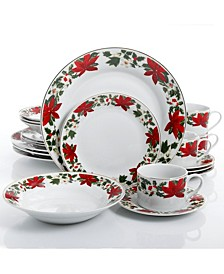 Poinsettia Holiday 20-pc Dinnerware Set