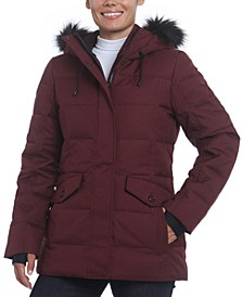 Tina Faux-Fur Trim Hooded Down Puffer Coat