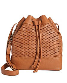 Anise Perforated Leather Bucket Bag