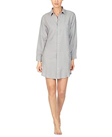 Brushed-Herringbone Sleepshirt Nightgown