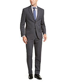 Men's Modern-Fit Bi-Stretch Dark Gray Windowpane Suit