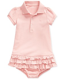 Polo Ralph Lauren Baby Girls Interlock Ruffle Dress