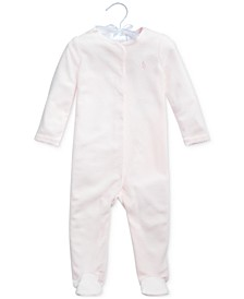 Ralph Lauren Baby Girls Velour One Piece Coverall