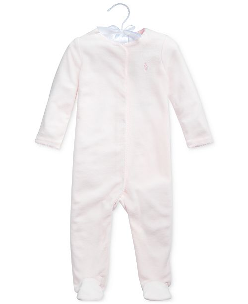Polo Ralph Lauren Baby Girls Velour One Piece Coverall